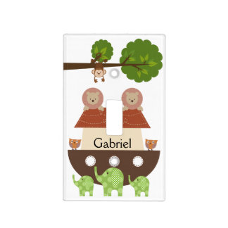 Personalized Noah's Ark Animals Light Switch Cover