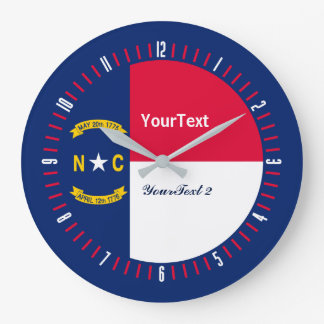 Personalized North Carolina State Flag on a Large Clock