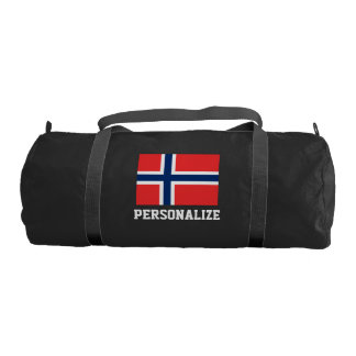 Personalized Norway flag duffle gym bag for sport