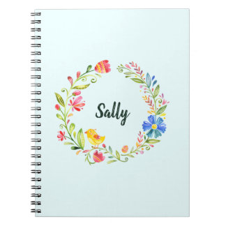 Personalized Notebook with Easter Flower Wreath