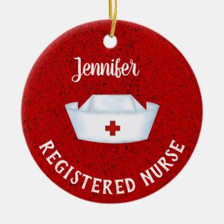 Personalized  Nurse Hat Ceramic Ornament
