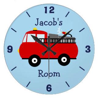 Personalized Nursery Fire Engine Wall Clock