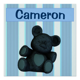 Personalized nursery murals blue teddy bear poster