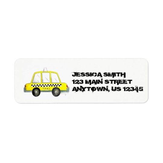 Personalized NYC Yellow Taxi Chequered Cab New Return Address Label