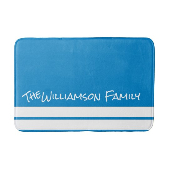 Personalized Ocean Blue Bath Mat w White Stripes