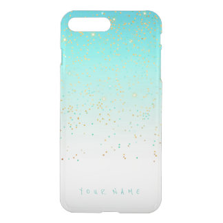 Personalized Ocean Teal Ombre Silver Gold Glitter iPhone 7 Plus Case