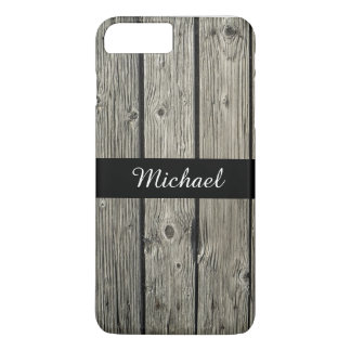 Personalized Old Rustic Weathered Barn Wood Look iPhone 7 Plus Case