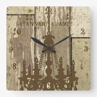 Personalized Old Rustic Wood Look Chandelier Wall Clock