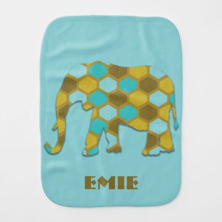 Personalized Olive Green Sky Blue Elephant Burp Cloth