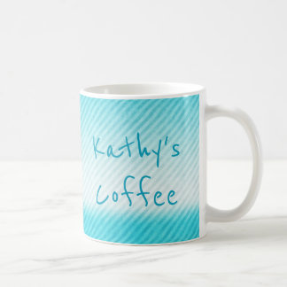 Personalized Ombre Teal Stripe Coffee Mug