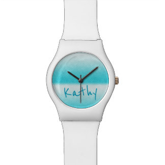 Personalized Ombre Teal Stripe Wrist Watch
