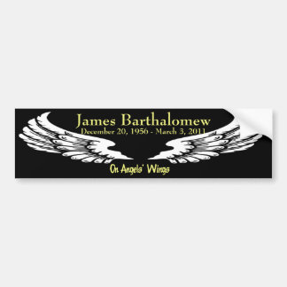 Personalized On Angels Wings Memorial Bumper Sticker