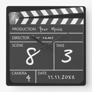 Personalized One of a Kind Movie Clapperboard Square Wall Clock