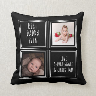 Personalized One of a Kind Two Photo Template Throw Pillow