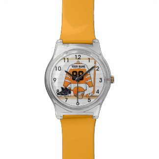 Personalized Orange and White Ice Hockey Jersey Wrist Watches