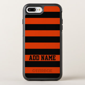 Personalized Orange Black Stripe OtterBox Symmetry iPhone 8 Plus/7 Plus Case