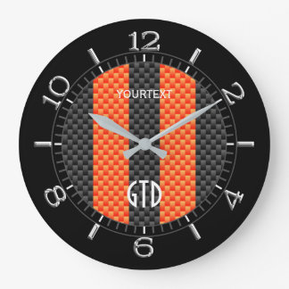 Personalized Orange Carbon Style Racing Stripes Large Clock