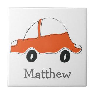 Personalized orange doodle car baby shower, kids tile
