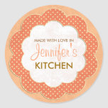Personalized Orange Floral Dot Canning Stickers