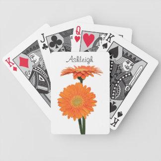 Personalized Orange Gerbera Daisies Playing Cards