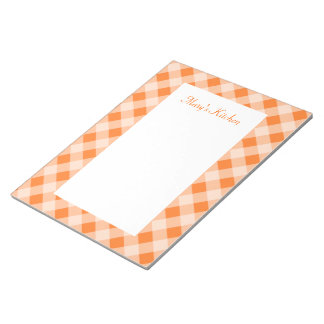 Personalized Orange Gingham Notepad