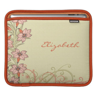 Personalized Orange Gold Lily Flowers iPad Sleeve