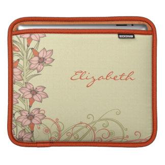Personalized Orange Gold Lily Flowers iPad Sleeve
