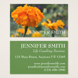 Personalized Orange Marigold Nature Floral Flower Business Card