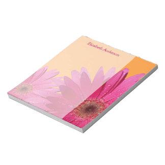 Personalized Orange Pink Gerbera Daisy Notepad
