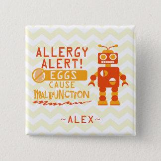 Personalized Orange Robot Egg Allergy Alert 2 Inch Square Button