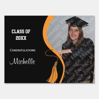 Personalized Orange Tassel Graduation Lawn Sign