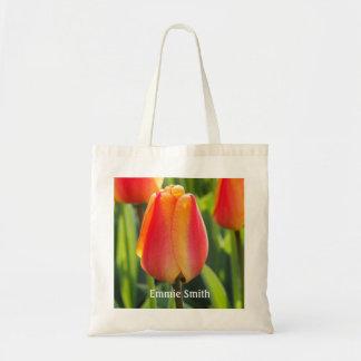 Personalized Orange Tulips Tote Bag