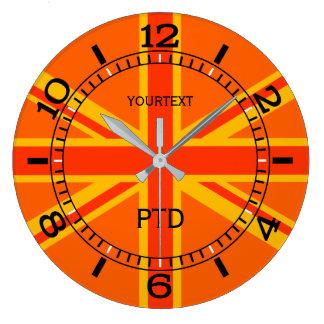 Personalized Orange Union Jack British Flag Dial Large Clock