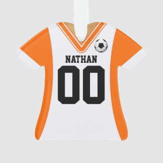 Personalized Orange/White Soccer Jersey Ornament