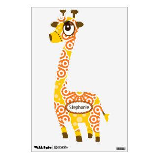 Personalized Orange Yellow Floral Pattern Giraffe Wall Sticker