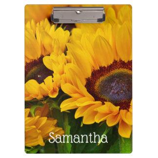 Personalized Orange Yellow Sunflower Painting Clipboard