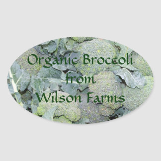 Personalized Organic Broccoli Canning Labels Oval Sticker