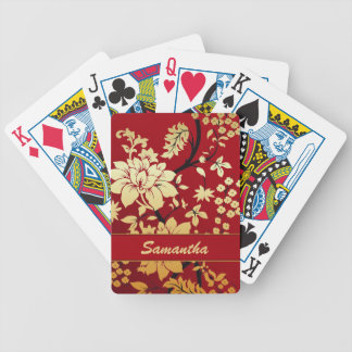 Personalized Oriental Golden Flowers on Red Bicycle Playing Cards