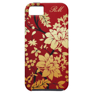 Personalized Oriental Golden Flowers on Red iPhone 5 Cases