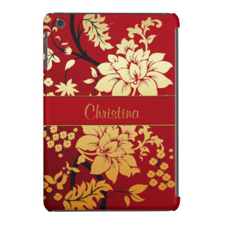 Personalized Oriental Golden Flowers on Red iPad Mini Retina Cover