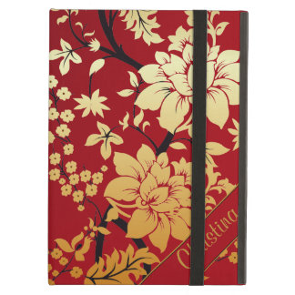 Personalized Oriental Golden Flowers on Red iPad Air Cover