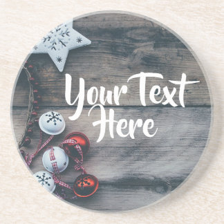 Personalized Ornament Christmas Rustic Coaster