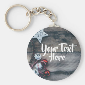 Personalized Ornament Christmas Rustic Keychain