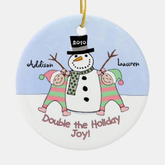 Personalized Ornament for Twin Girls