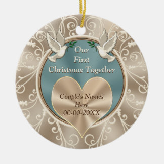 Personalized Our First Christmas Together Round Ceramic Ornament