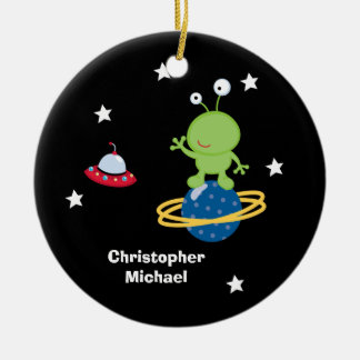 Personalized outer space alien boy's ornament