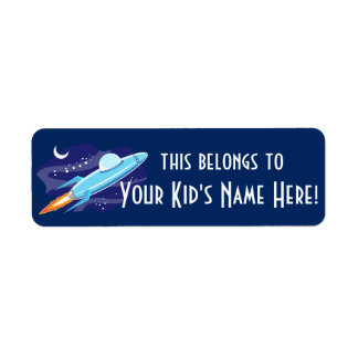 Personalized Outer Space Rocket Kids Boys School