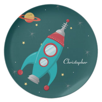 Personalized outer space rocket ship plate