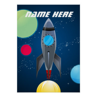 Personalized Outer Space Rocket Ship Posters