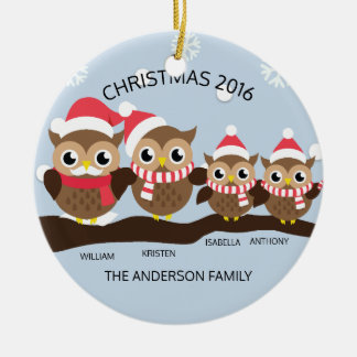 Personalized Owl Family Of 4 Christmas Round Ceramic Ornament